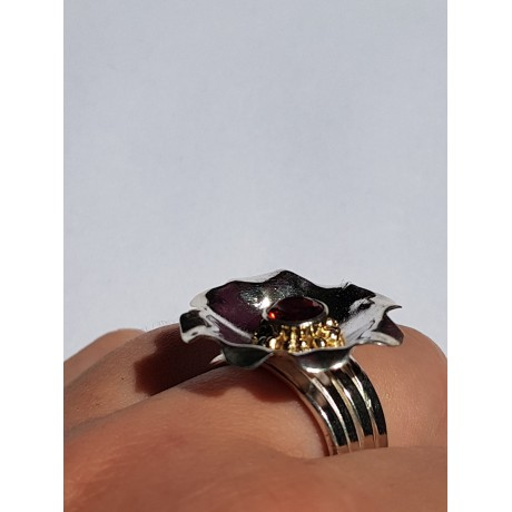 Sterling silver ring with natural red garnet and 14k Gold Rue d'Amour, Bijuterii de argint lucrate manual, handmade