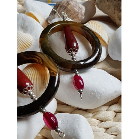 Sterling silver earrings with natural agate stones, Bijuterii de argint lucrate manual, handmade