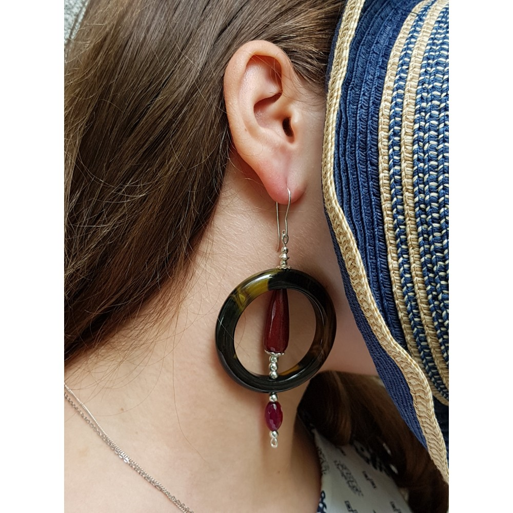 Sterling silver earrings with natural agate stones