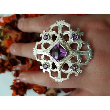 Five ametist stone silver ring, Bijuterii de argint lucrate manual, handmade
