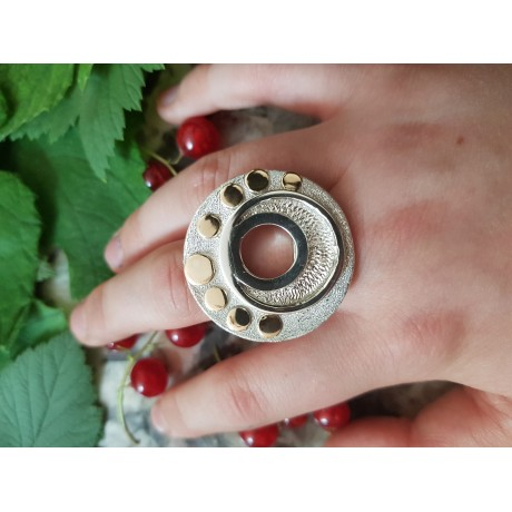 Sterling silver ring with 14 K gold rounds, handmade& handcrafted, Bijuterii de argint lucrate manual, handmade