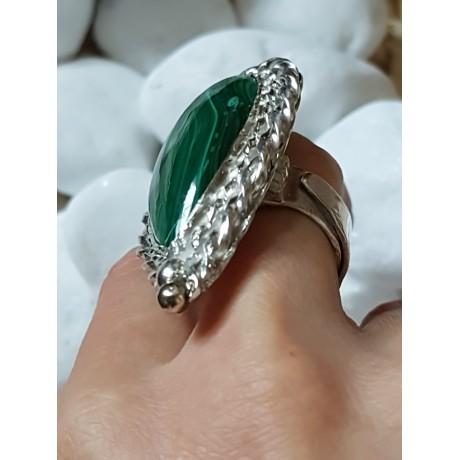 Large Sterling Silver ring with natural malachite stone Greenest Addiction, Bijuterii de argint lucrate manual, handmade