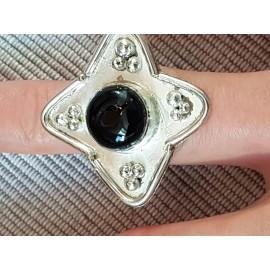 Inel din Ag masiv Ag925 cu onix negru natural Starry Flower, Bijuterii de argint lucrate manual, handmade