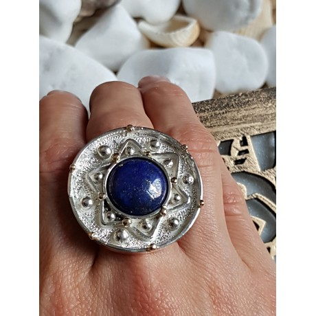 Massive Sterling silver ring with 14kgold, Bijuterii de argint lucrate manual, handmade