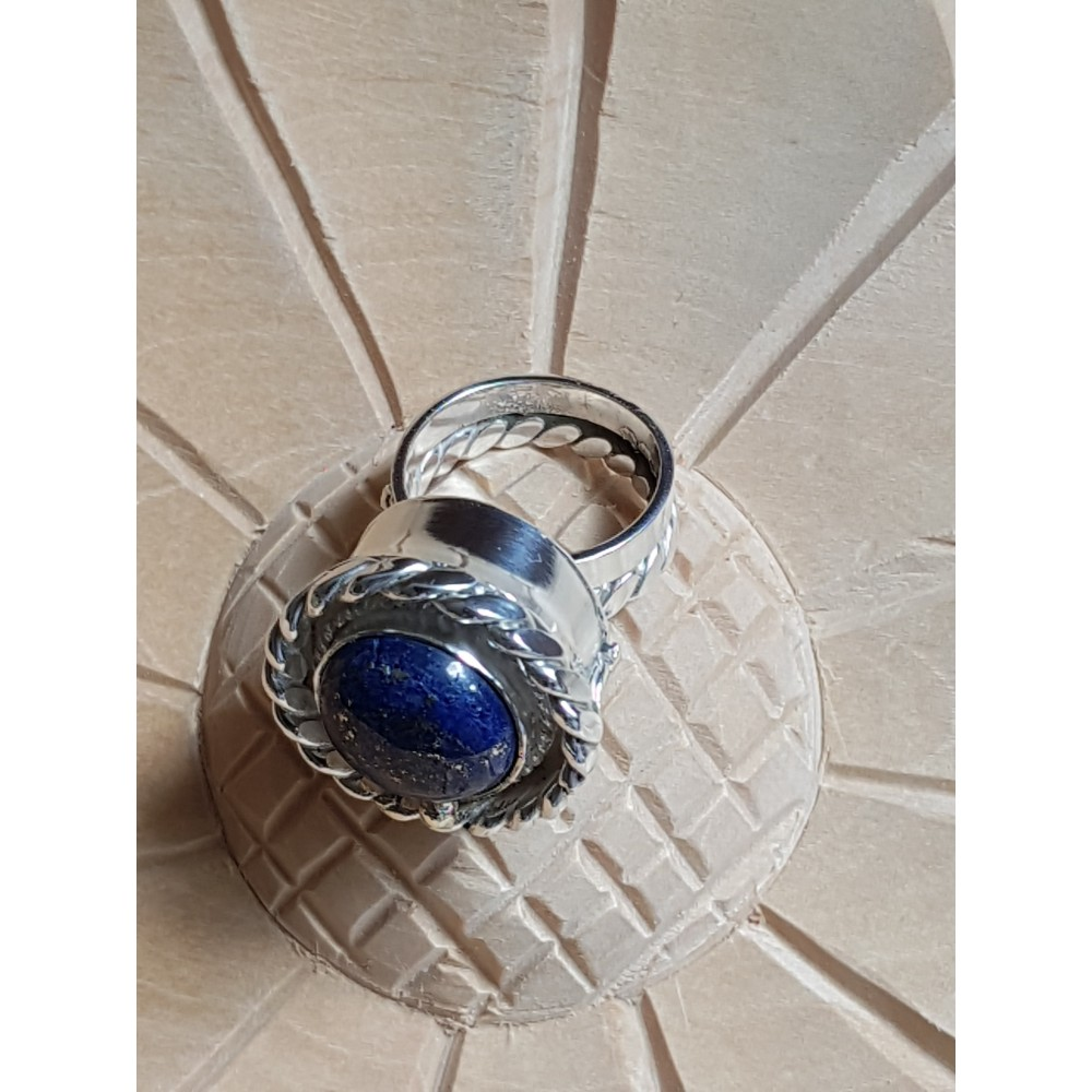 Sterling silver ring with natural lapislazuli and 14k Gold, Summer Blues & Ruse