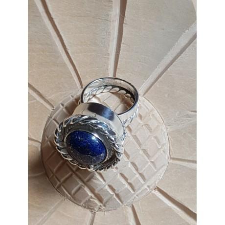 Sterling silver ring with natural lapislazuli and 14k Gold, Summer Blues & Ruse, Bijuterii de argint lucrate manual, handmade