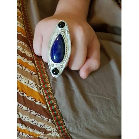 Sterling silver ring with natural lapislazuli and onyx, Bijuterii de argint lucrate manual, handmade