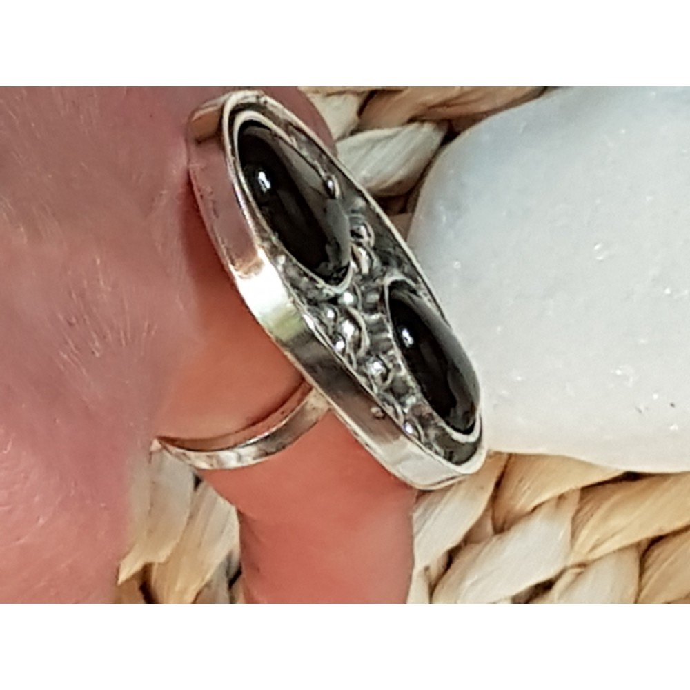Sterling silver ring with natural onyx stones