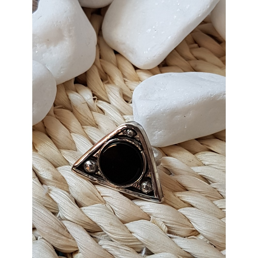Sterling silver ring with natural onyx stone Black Trims