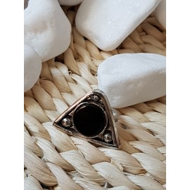 Sterling silver ring with natural onyx stone Black Trims, Bijuterii de argint lucrate manual, handmade