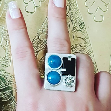 Sterling silver ring with natural aquamarine stones and onyx, Bijuterii de argint lucrate manual, handmade