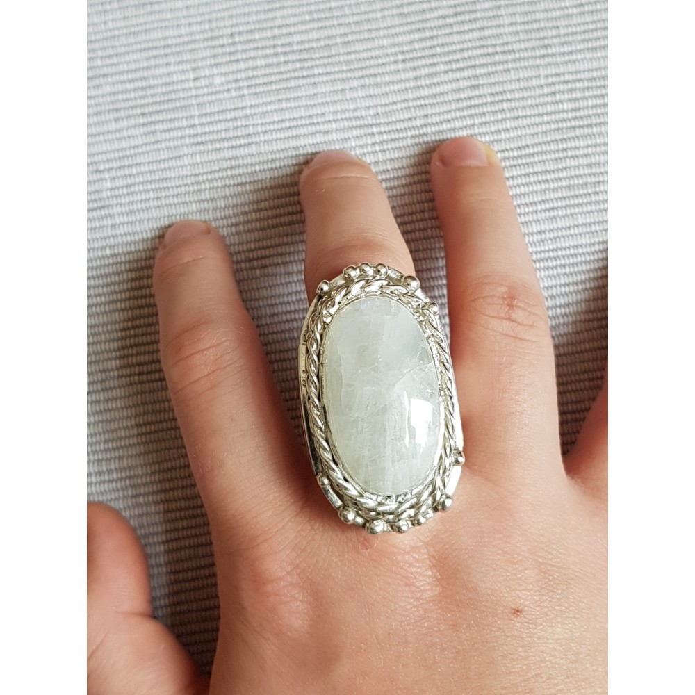 Massive Sterling silver ring with natural RAINBOW MOONSTONE