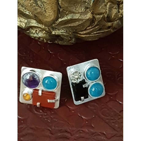 Sterling silver ring with natural aquamarine, jade, amethyst and garnet, Bijuterii de argint lucrate manual, handmade