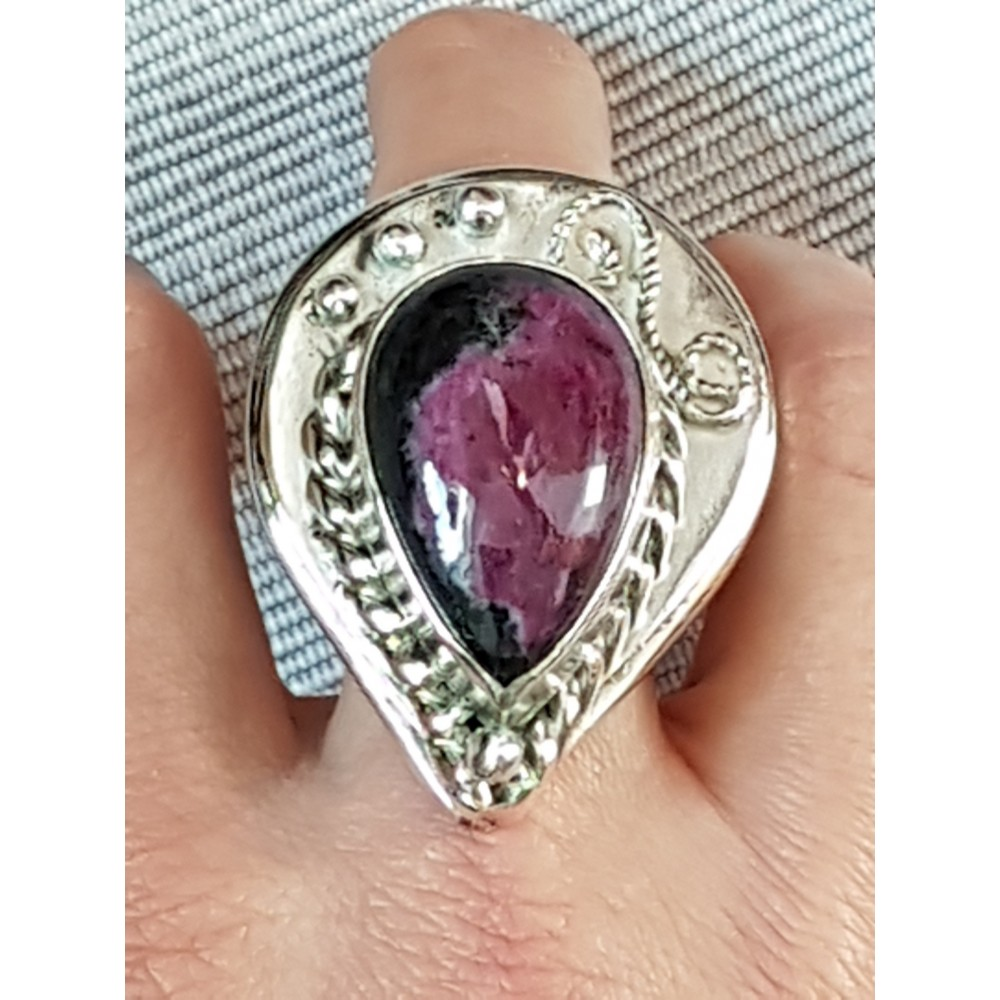 Large massive Sterling silver ring with natural Ruby Agate