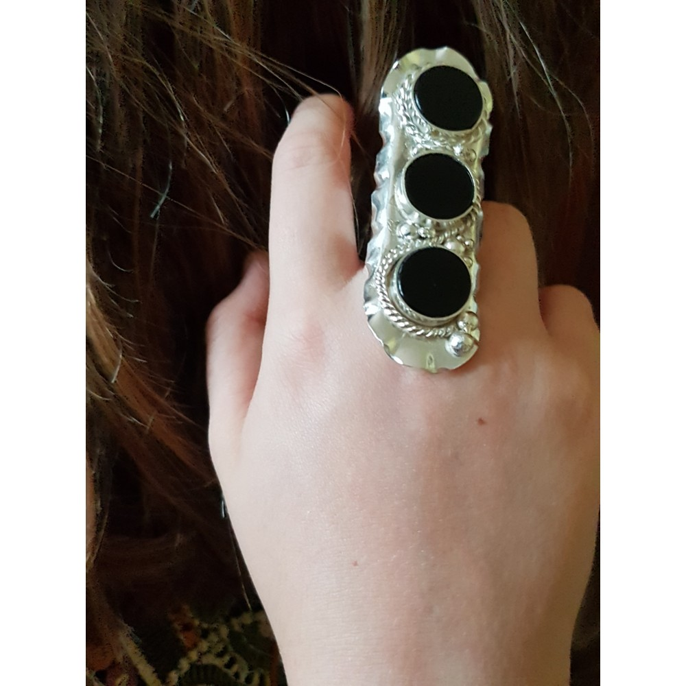 Massive Sterling silver ring with natural onyx stones