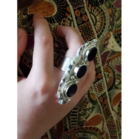 Massive Sterling silver ring with natural onyx stones, Bijuterii de argint lucrate manual, handmade