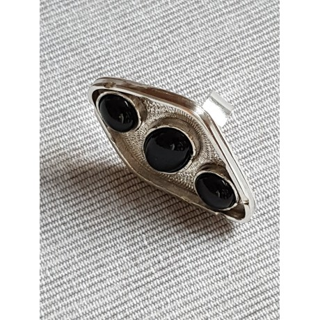 Sterling silver ring with natural onyx stones, Bijuterii de argint lucrate manual, handmade