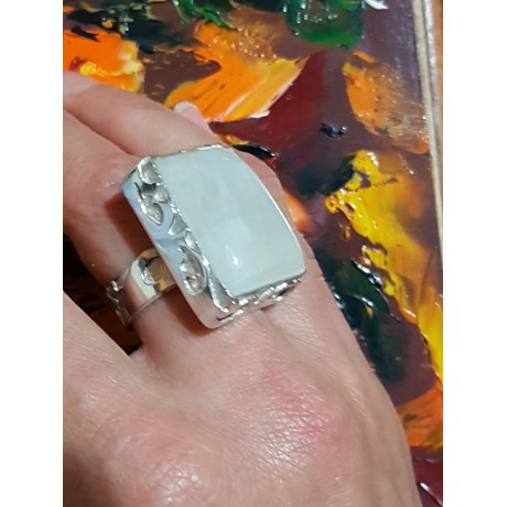Sterling silver ring with natural moon stone,  Moon BLOOM, Bijuterii de argint lucrate manual, handmade