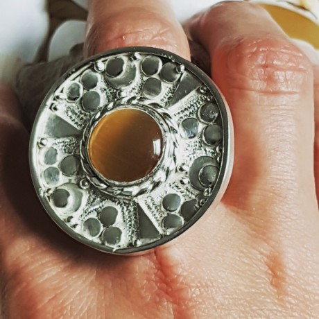 Massive Sterling silver ring with natural cat 's eye stone, Bijuterii de argint lucrate manual, handmade