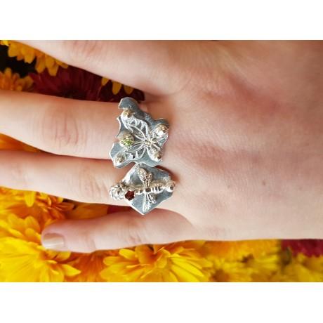 Sterling silver ring with natural garnet, Bijuterii de argint lucrate manual, handmade