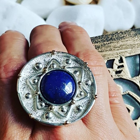 Large massive Sterling silver ring with natural lapislazuli, Bijuterii de argint lucrate manual, handmade