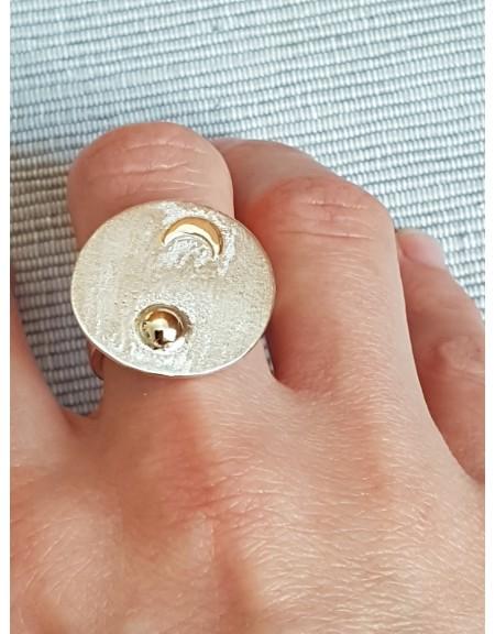 Inele argint #sterling 925 cu aur 14k, Specks of Sparkle, Bijuterii de argint lucrate manual, handmade