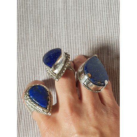 Large Sterling Silver ring Perched Blues, Bijuterii de argint lucrate manual, handmade