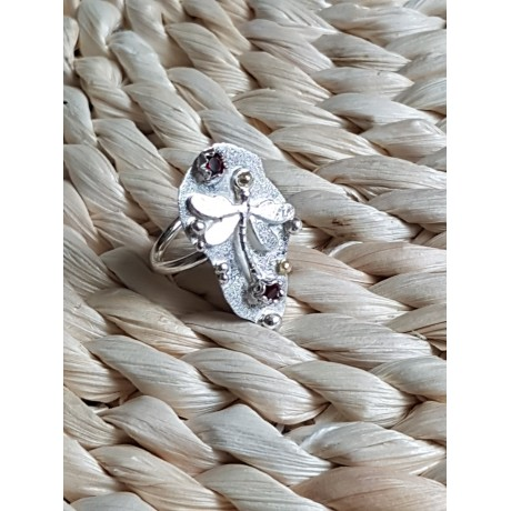 Sterling silver ring with natural garnet stones, Bijuterii de argint lucrate manual, handmade