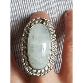Massive Sterling silver ring with natural Moon stone