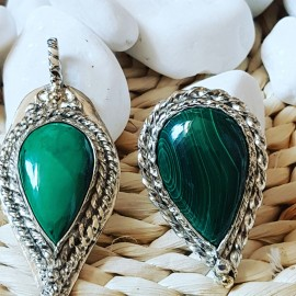 Large Sterling Silver pandant with large natural malachite stone, Bijuterii de argint lucrate manual, handmade