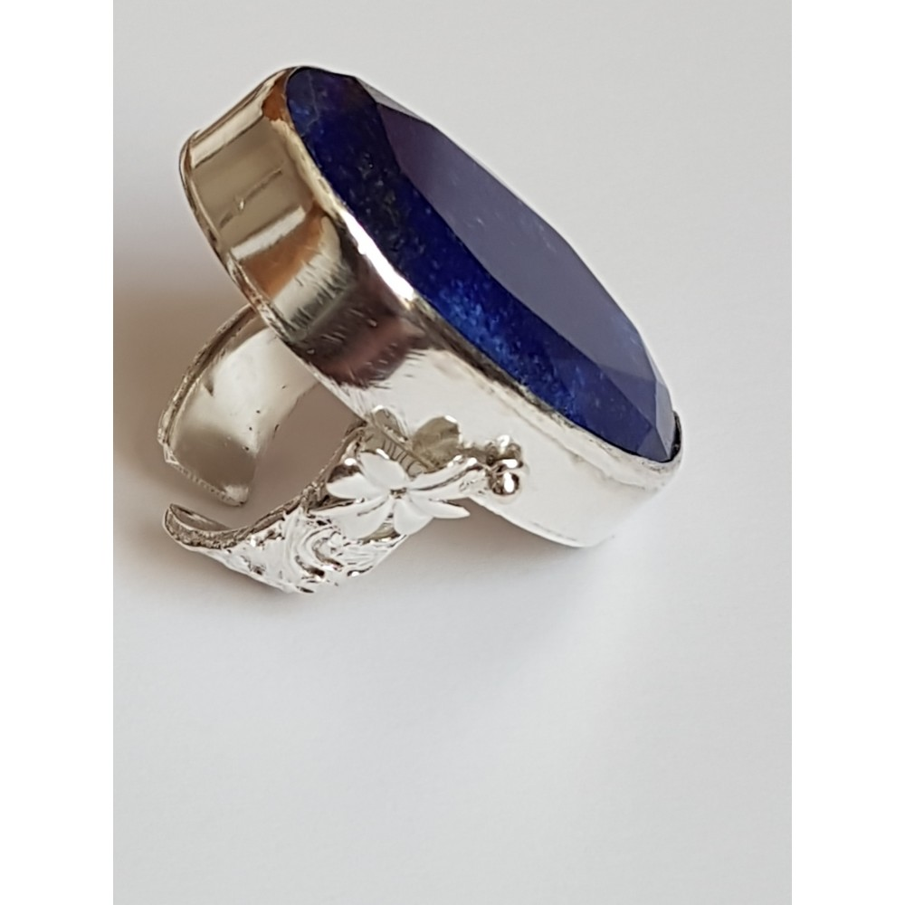 Sterling silver ring with natural lapislazuli Azure Leprechaun