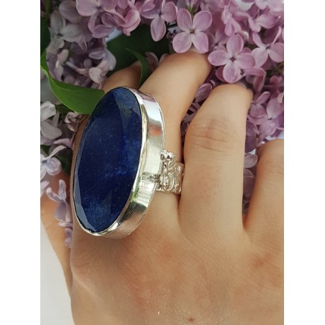 Sterling silver ring with natural lapislazuli Azure Leprechaun , Bijuterii de argint lucrate manual, handmade