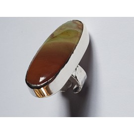 Large Sterling silver ring with natural jasper stone Spectacle