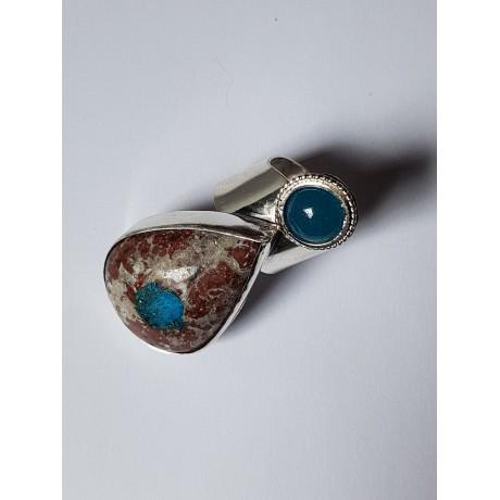 Sterling silver ring with natural Cavansite and aquamarine Globularities, Bijuterii de argint lucrate manual, handmade