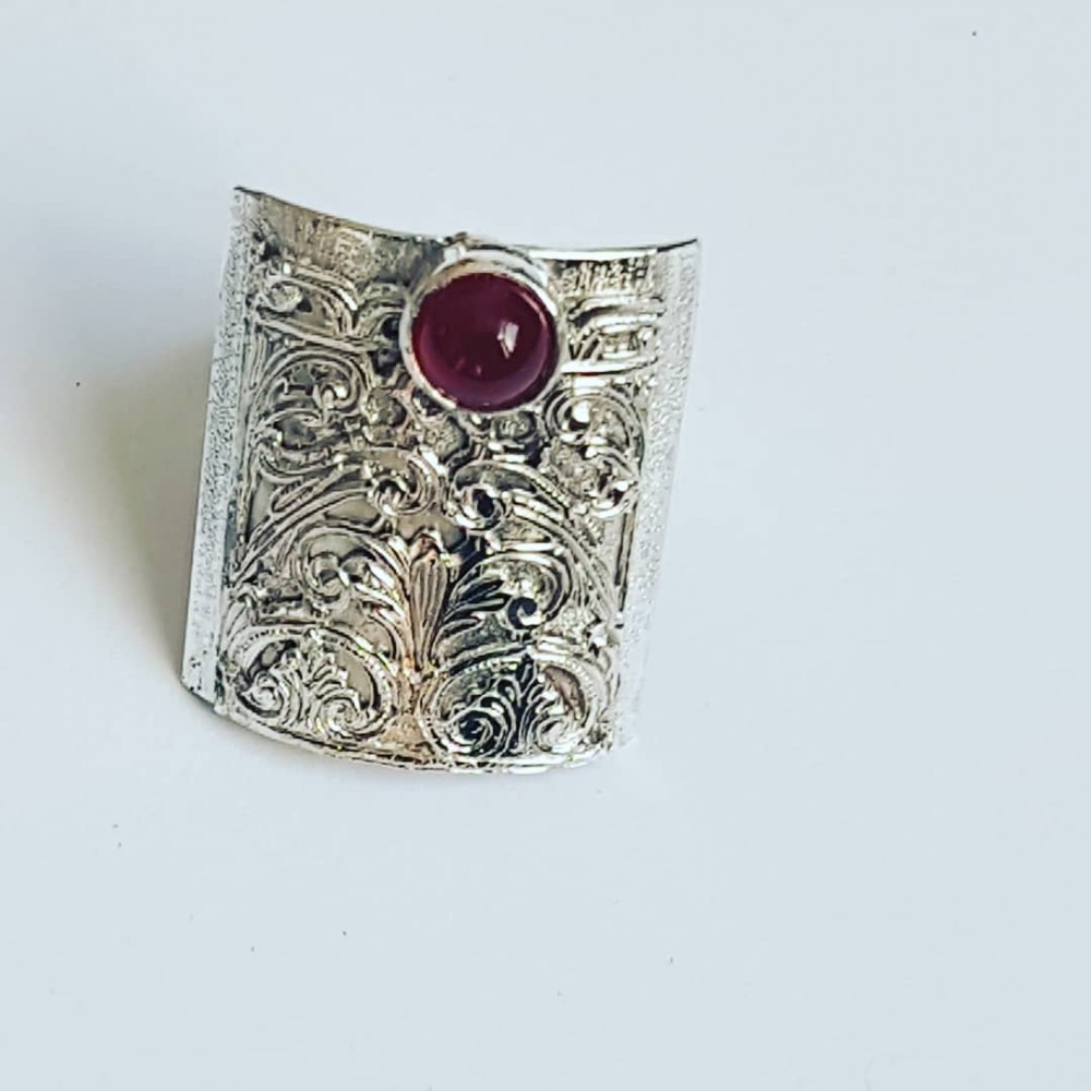 Sterling silver ring with natural carnelian Red Cape