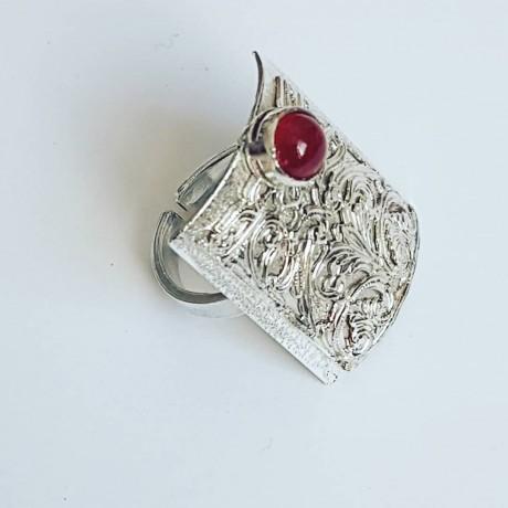 Sterling silver ring with natural carnelian Red Cape, Bijuterii de argint lucrate manual, handmade