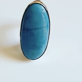 Sterling silver ring with natural Opal Loving Blues, Bijuterii de argint lucrate manual, handmade