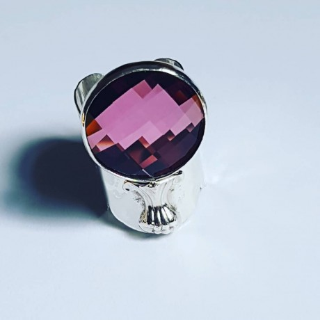 Sterling silver ring with Swarovski crystal Mercurial, Bijuterii de argint lucrate manual, handmade