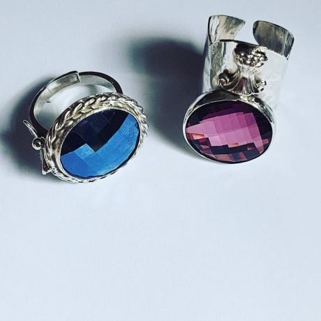 Sterling silver ring with Swarovski crystal Mercurial, Bijuterii de argint lucrate manual, handmade
