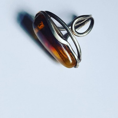 Sterling silver ring and amber Amberish, Bijuterii de argint lucrate manual, handmade