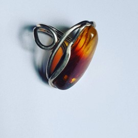 Sterling silver ring and amber Amberish
