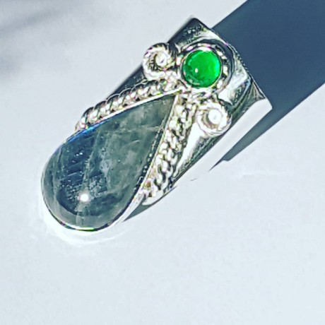 Sterling silver ring with natural labradorite and agate Arrow Lust, Bijuterii de argint lucrate manual, handmade
