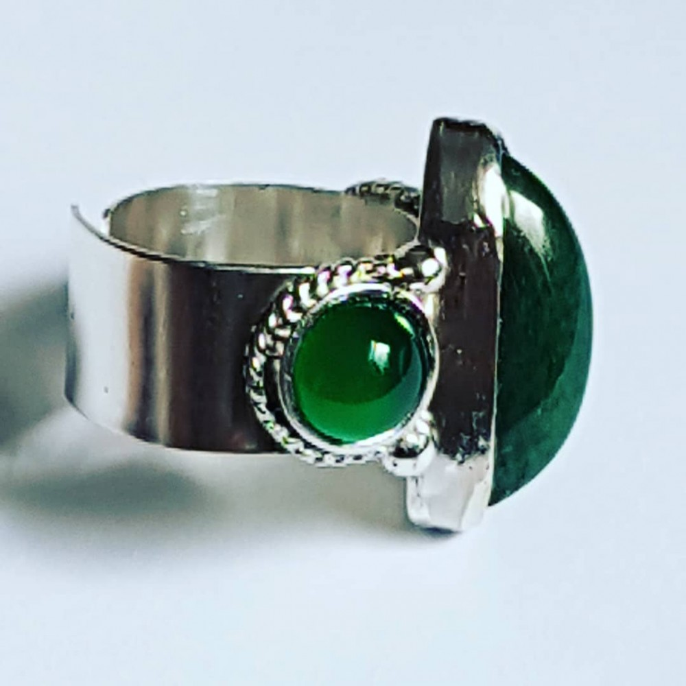 Sterling silver ring with natural aquamarine and agate U(vert)ure