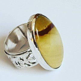 Sterling silver ring with natural jasper stone Custurdy Transcende