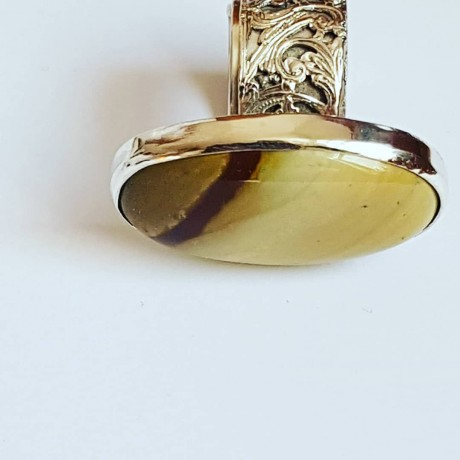 Sterling silver ring with natural jasper stone Custurdy Transcende , Bijuterii de argint lucrate manual, handmade