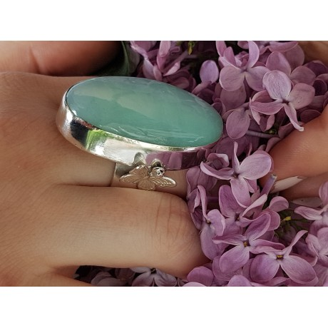 Sterling silver ring and natural crysophrasis Green Spring Contagion, Bijuterii de argint lucrate manual, handmade