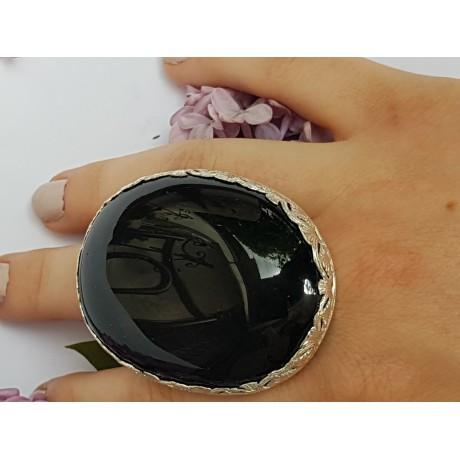 Statement Sterling silver ring and natural Obsidian Rainbow Lush, Bijuterii de argint lucrate manual, handmade