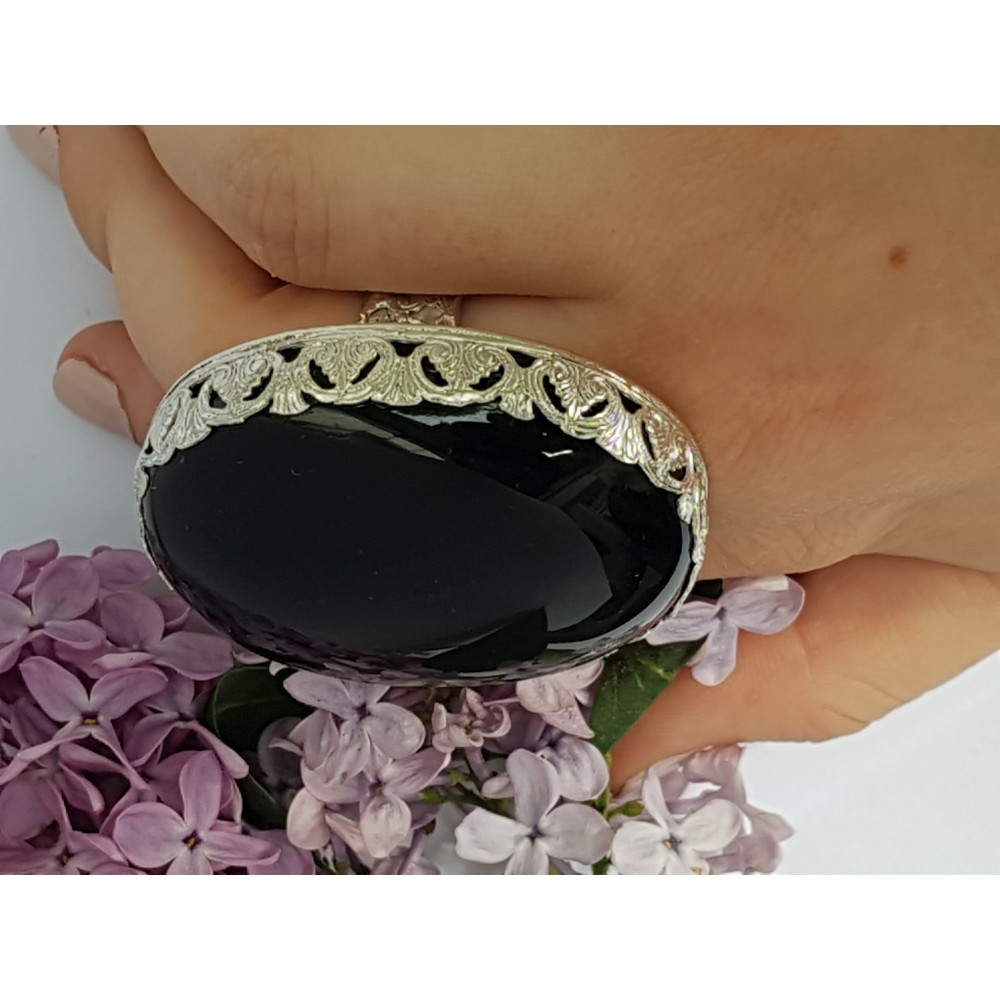 Statement Sterling silver ring and natural Obsidian Rainbow Lush