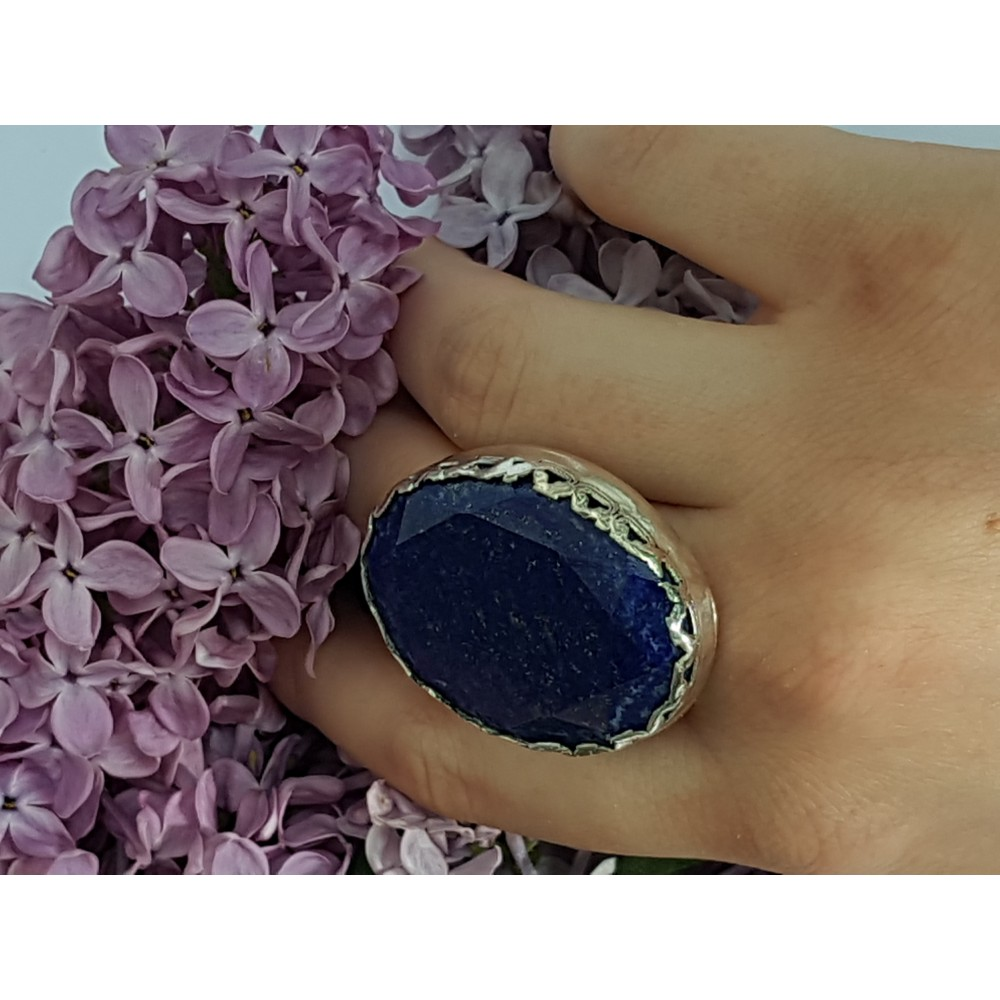 Sterling silver ring with natural lapislazuli Crowning Blooms