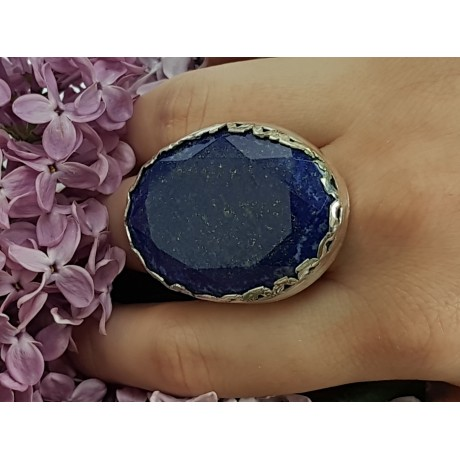 Sterling silver ring with natural lapislazuli Crowning Blooms, Bijuterii de argint lucrate manual, handmade